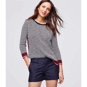 LOFT Mid rise dark denim jean shorts